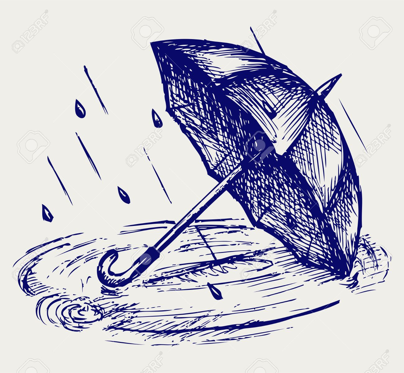 Rain drops rippling in puddle and umbrella. Doodle style Stock Vector - 18062111
