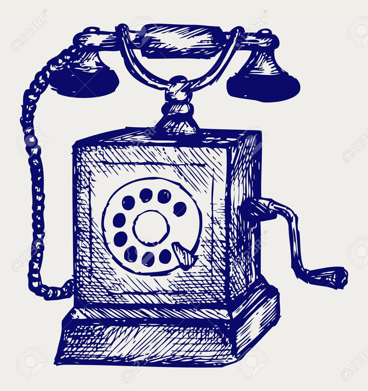 Old telephone. Doodle style Stock Vector - 18062106