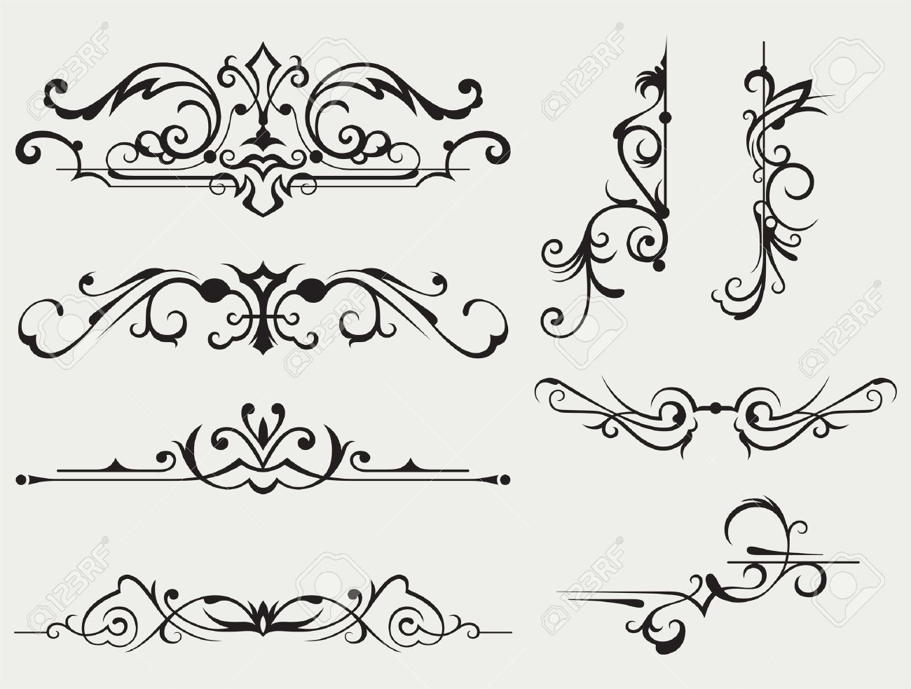 Calligraphic design element and page decoration - 19125943