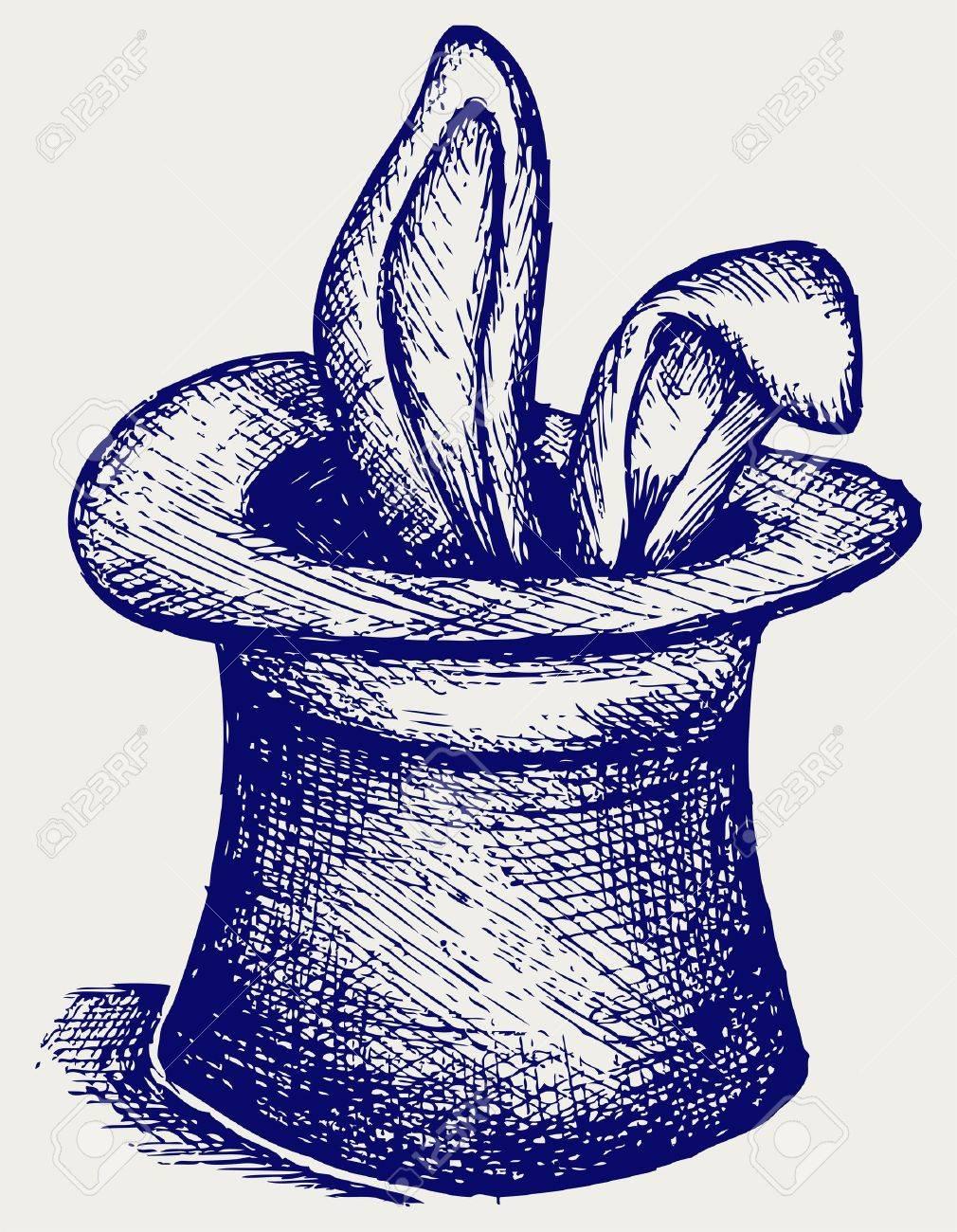 banque dimages lapin dans un chapeau de magicien doodle style
