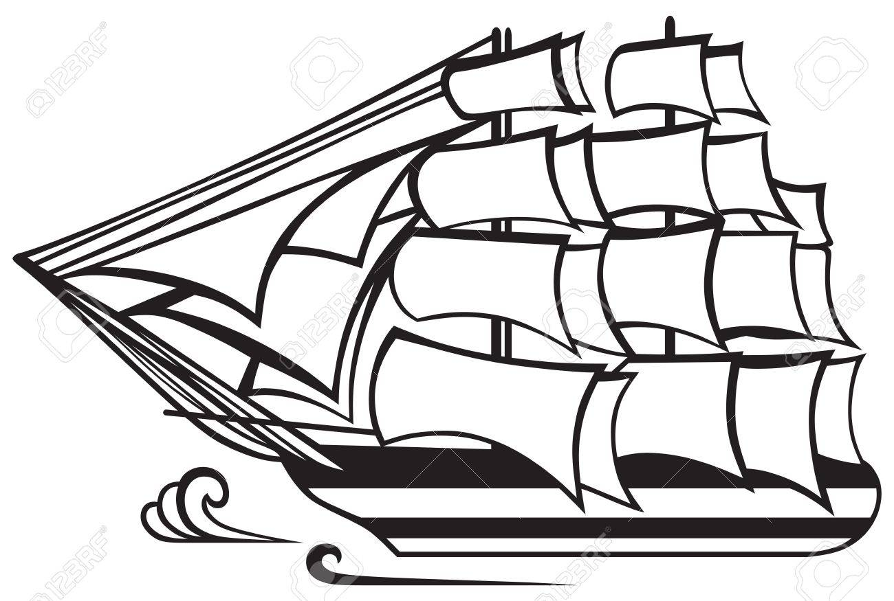 Vintage wooden tall ship isolated on white background  Silhouette Stock Vector - 20543976