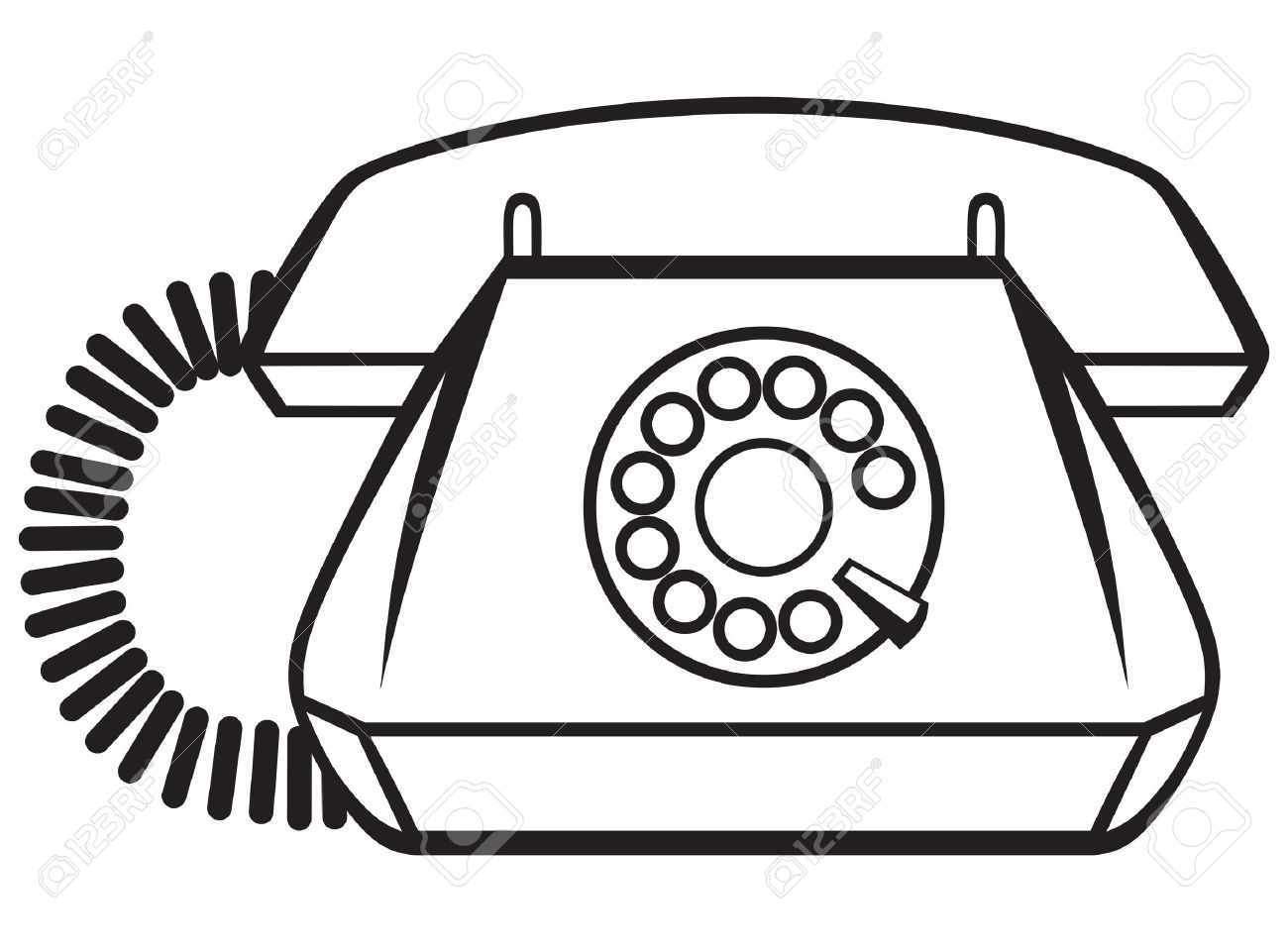 Old Phone Isolated On White Background Silhouette Stock Vector