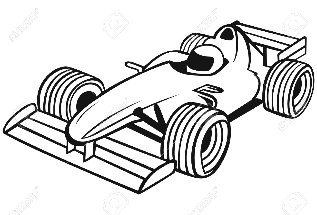 Formula Racing Car isolated on  Race Car Clipart Black And White
