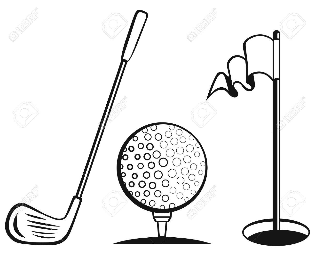 golf icon set golf flag golf ball and golf stick royalty free rh 123rf com golf vector logo golf vector pro