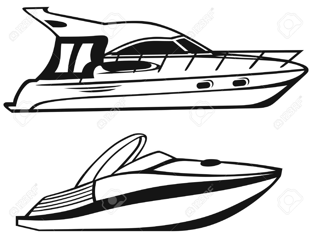 Nautical Clipart Black And White Luxury Yacht isolated on white