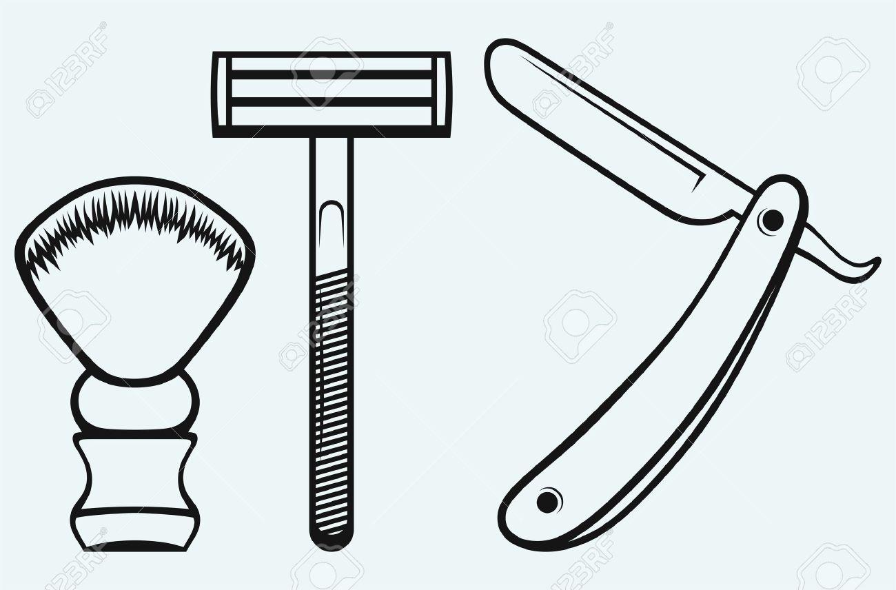 Straight razor and shaving brush isolated on blue background Stock Vector - 21398351