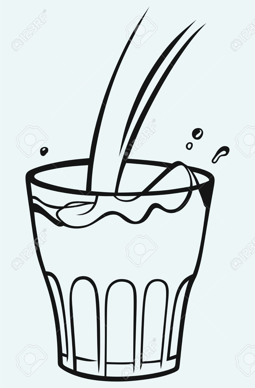 pouring a glass of milk isolated on blue background royalty free rh 123rf com  glass of milk clipart black and white