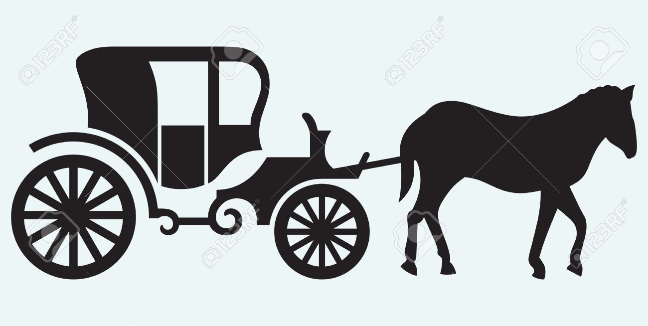 Vintage carriage and horse-drawn isolated on blue background Stock Vector - 21393756
