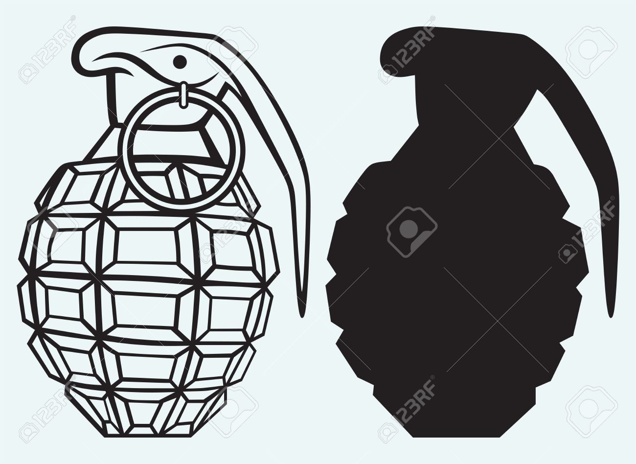 Image of an manual grenade isolated on blue background Stock Vector - 21393214