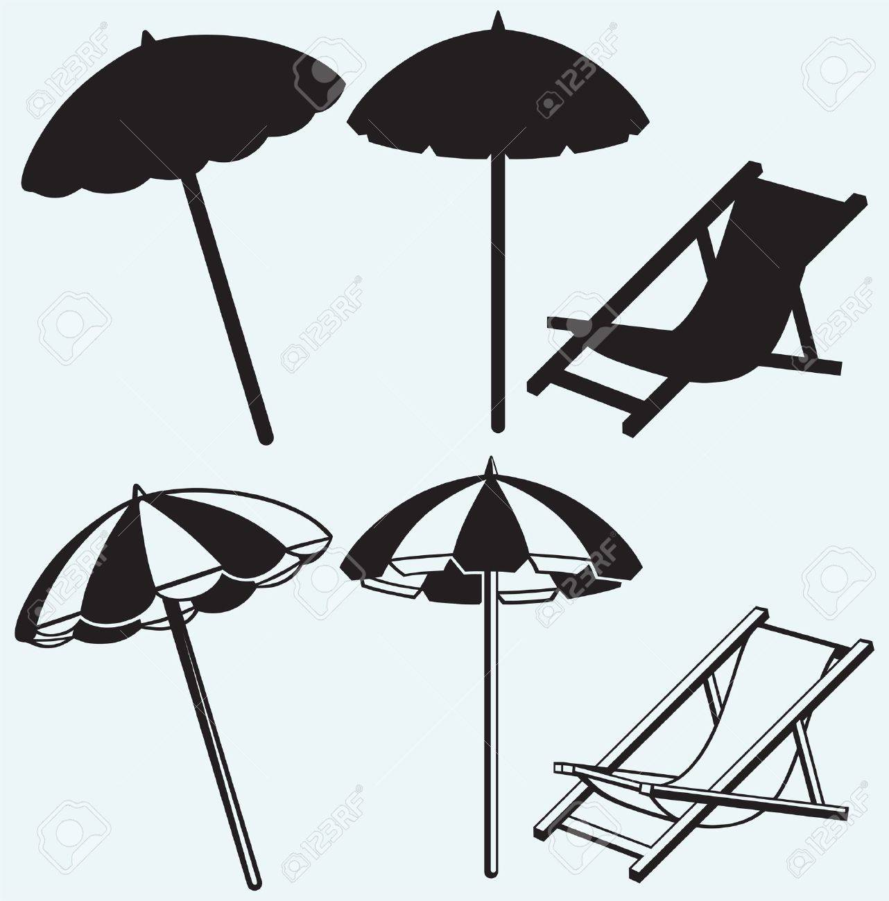 Chair beach umbrella and chair black and white - Chair And Beach Umbrella Isolated On Blue Background Stock Vector 21398427