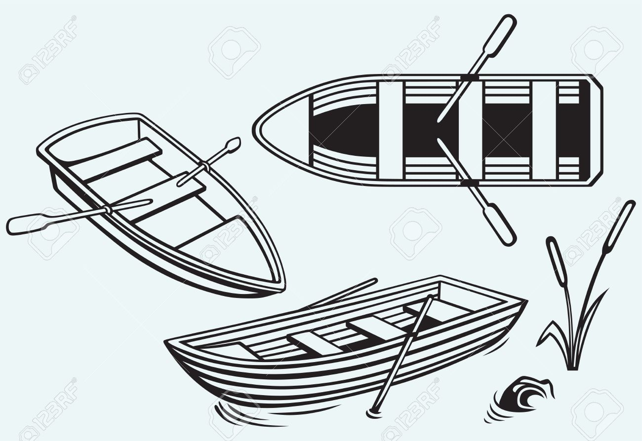 Wooden Boat With Paddles Isolated On Blue Background Stock Vector