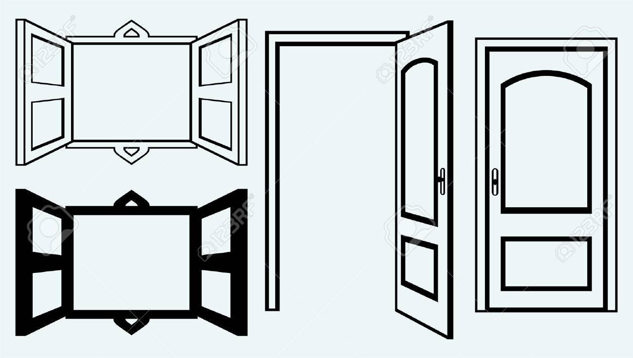 Offenes fenster zeichnen  Offene Tür-und Fensterbild Auf Blauem Hintergrund Isoliert ...