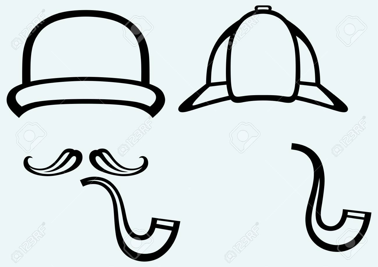 Sherlock Holmes  Icon Detective  Isolated on blue background Stock Vector - 27735980