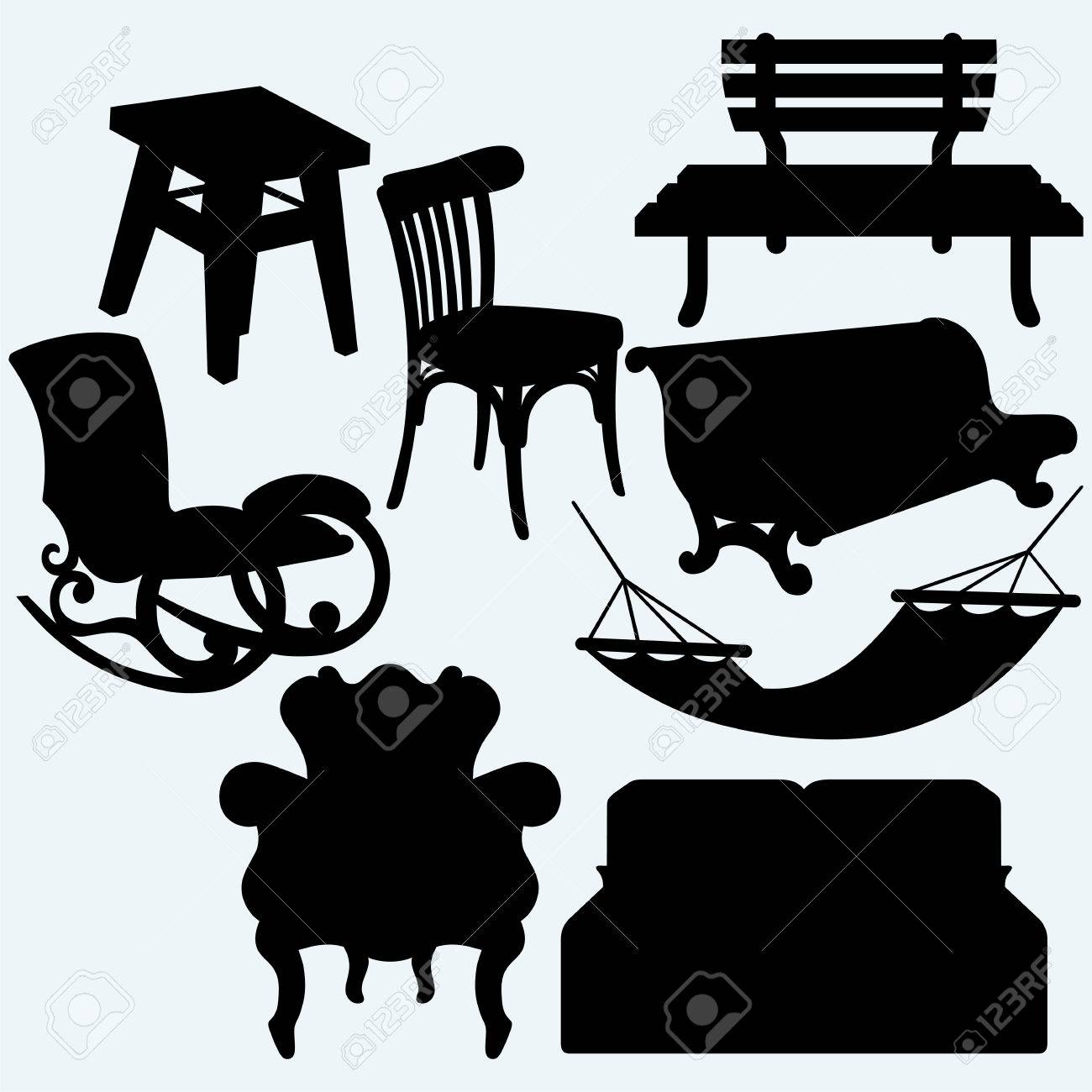 Set Of Furniture: Rocking Chair, Stool, Sofa, Bench And Hammock ...