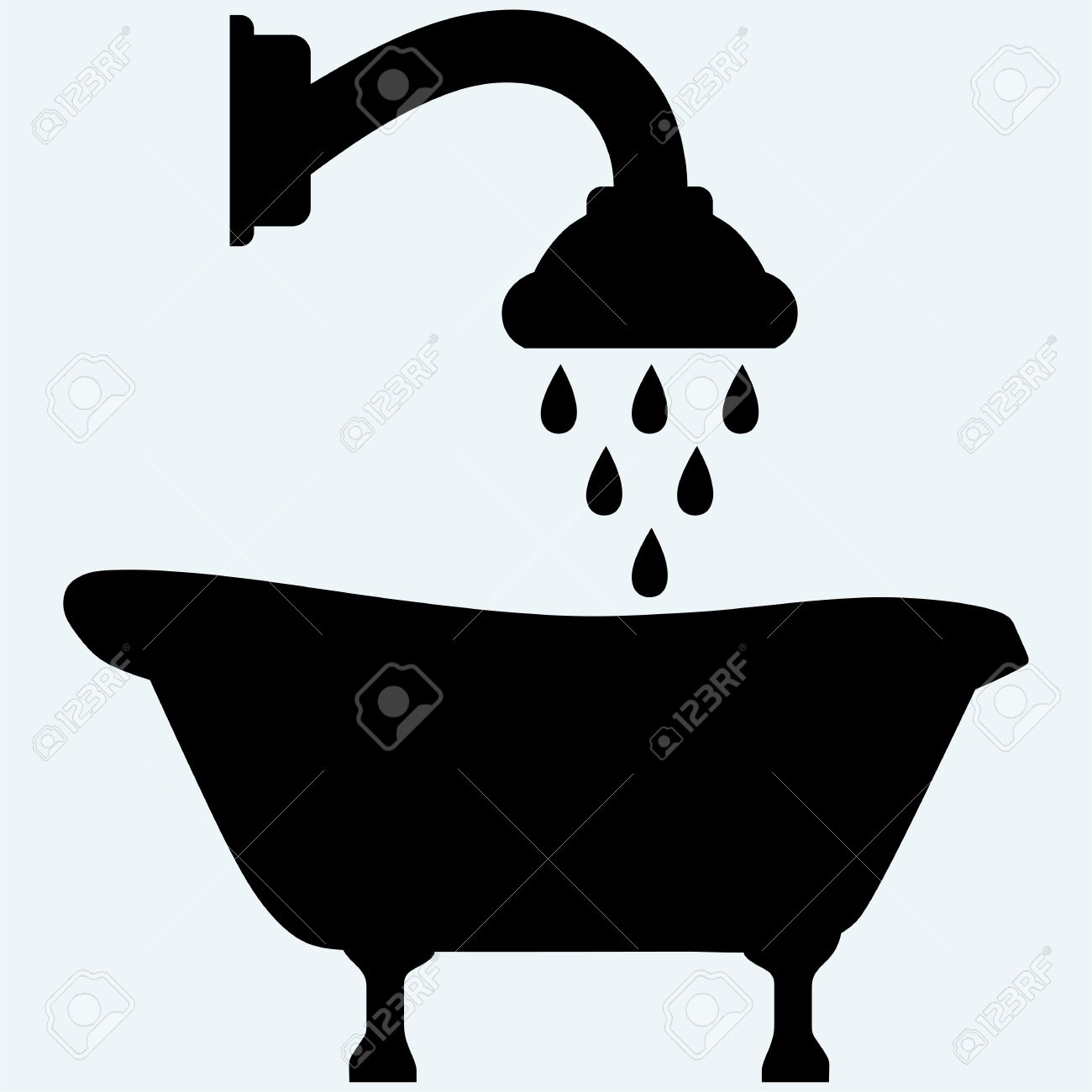 Symbol View Of Bath And Shower Head Isolated On Blue Background