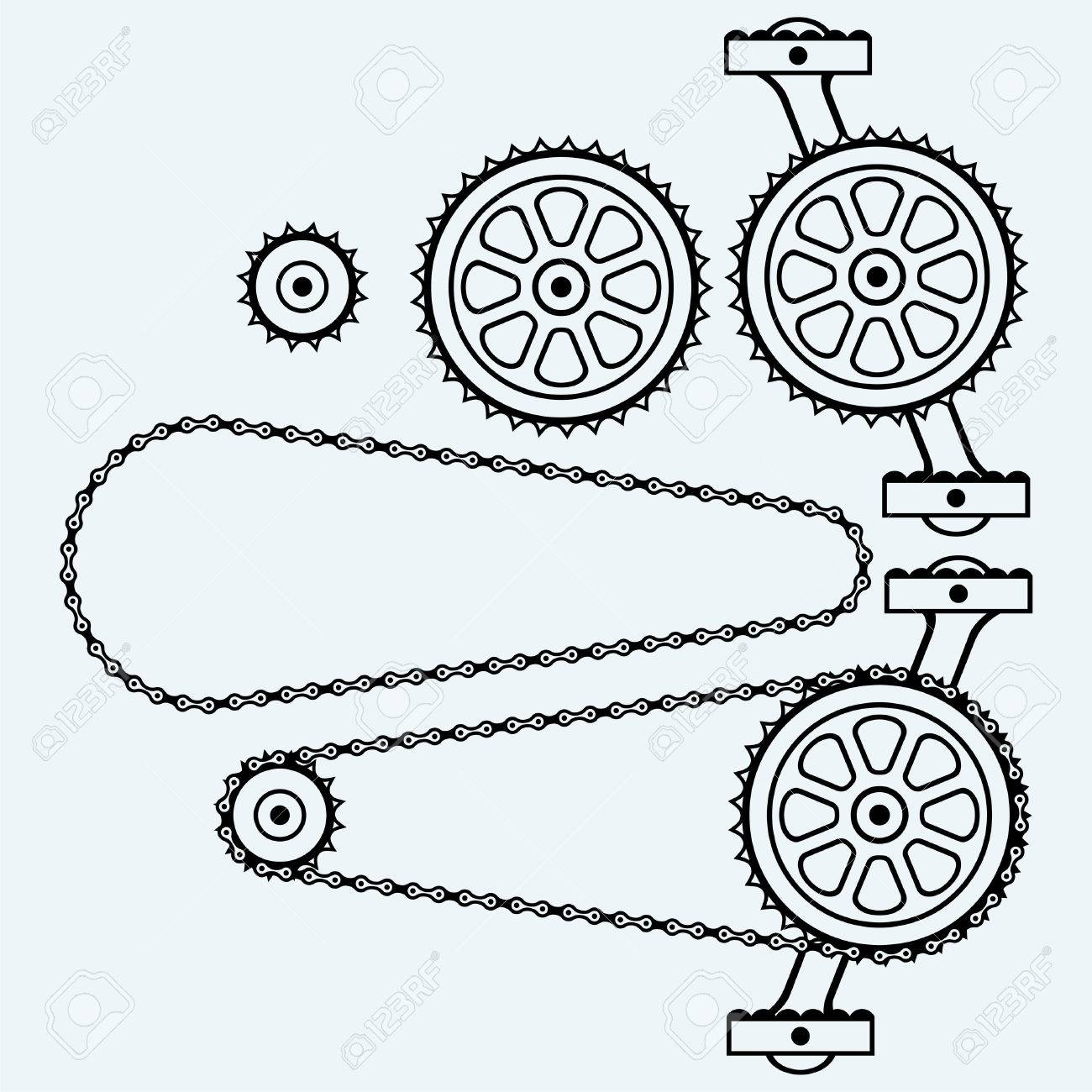 Set chain gears. Isolated on blue background. Vector silhouettes - 50867269