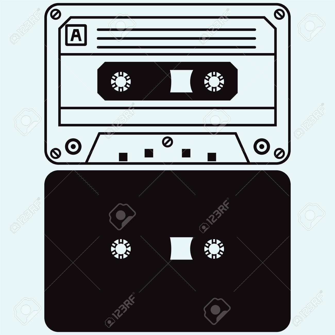 青の背景に分離されたカセット テープのイラスト素材ベクタ Image