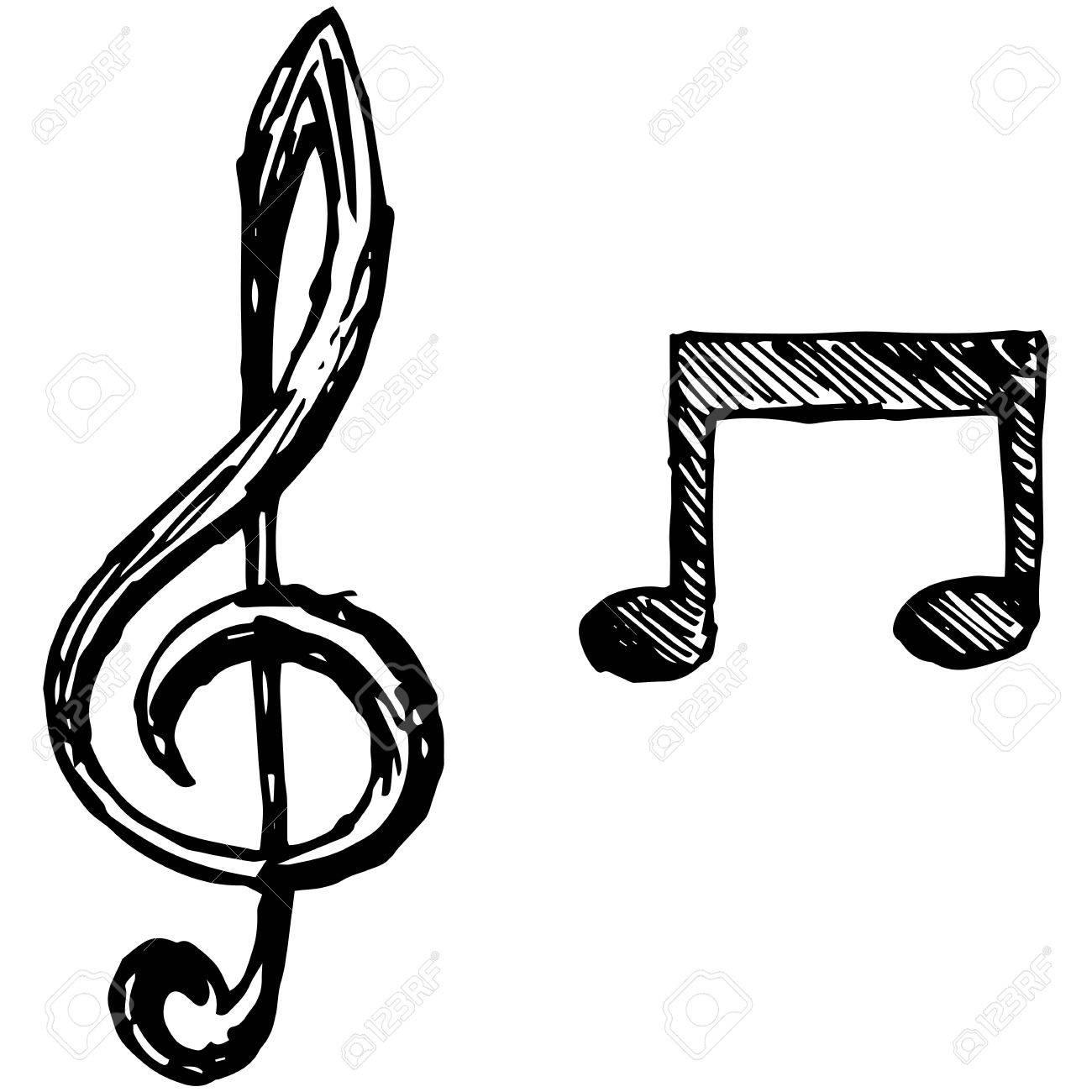 落書きスタイルで音符イラストのイラスト素材ベクタ Image 63112430