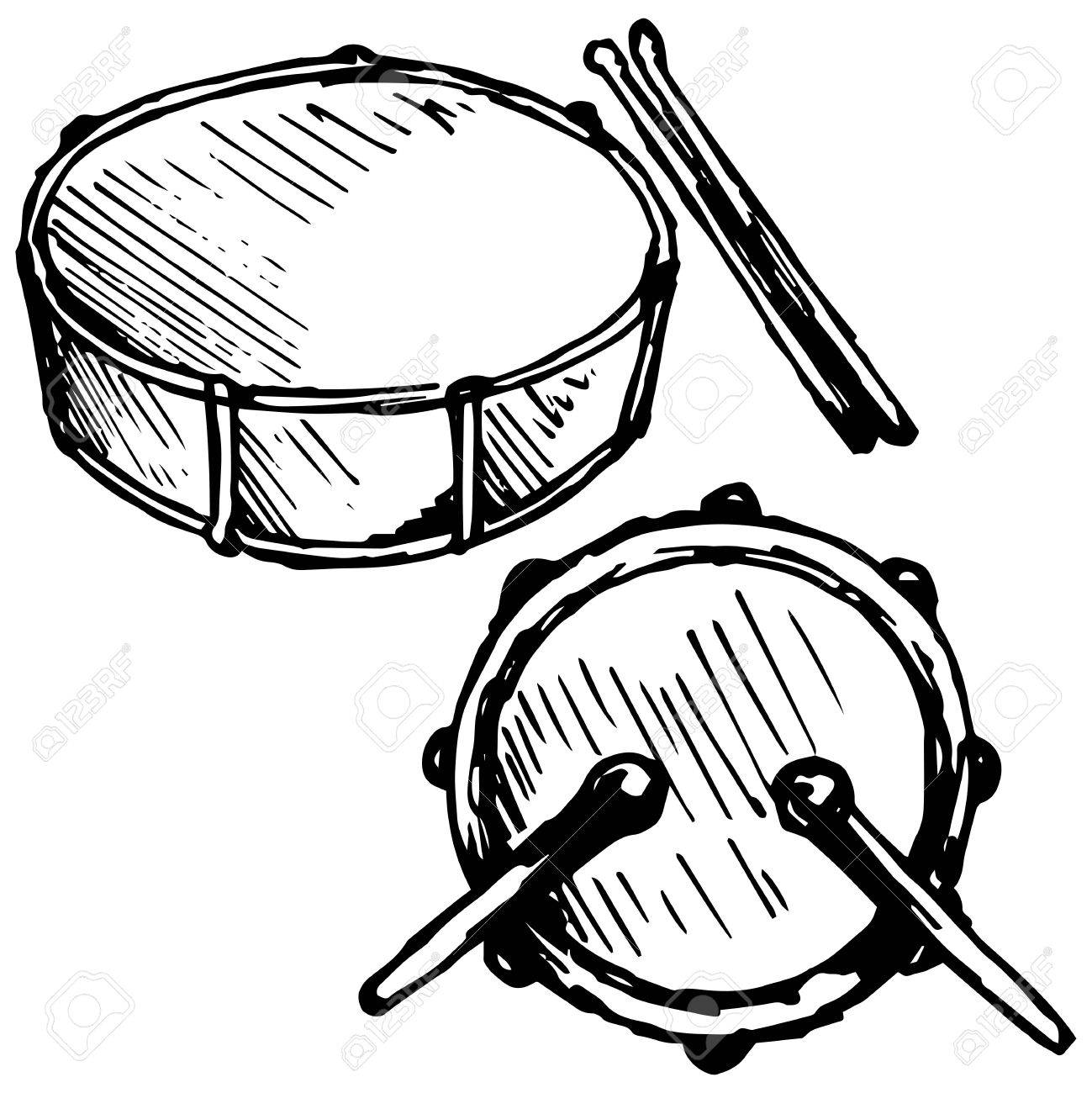 Drum Set Illustration In Doodle Style Royalty Free Cliparts Vectors