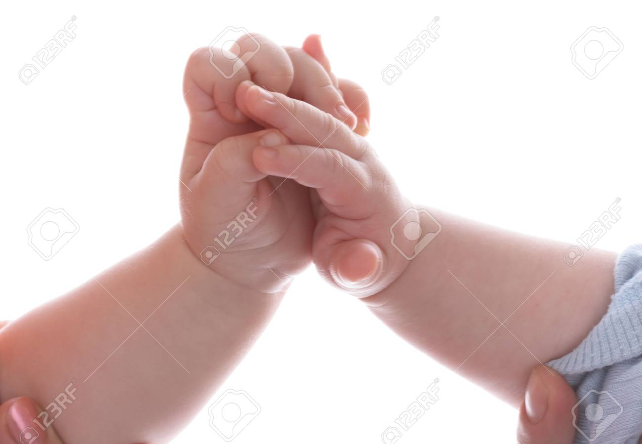 Babies and hands. Close-up. Isolated. Stock Photo - 2729970