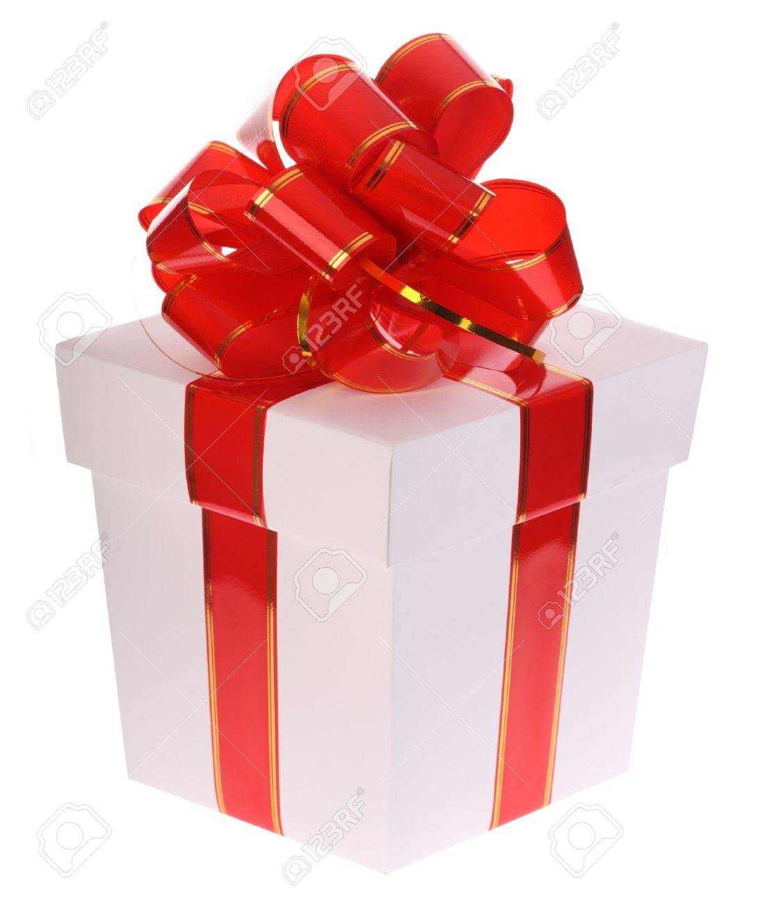 Gift box and red bow. Stock Photo - 3841374