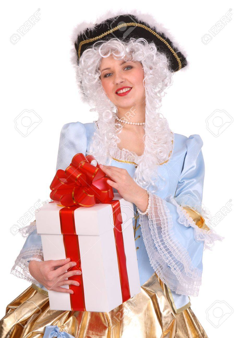 Woman in ancient dress of marquise with gift box. Stock Photo - 3929573