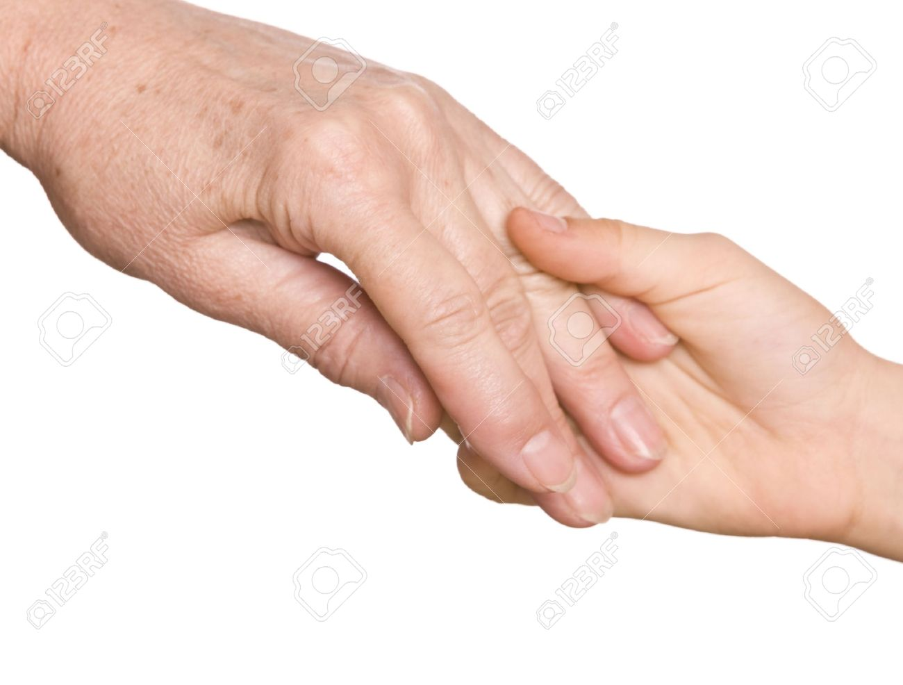 Grandmother and granddaughter hold hands. Isolated. Stock Photo - 4878606