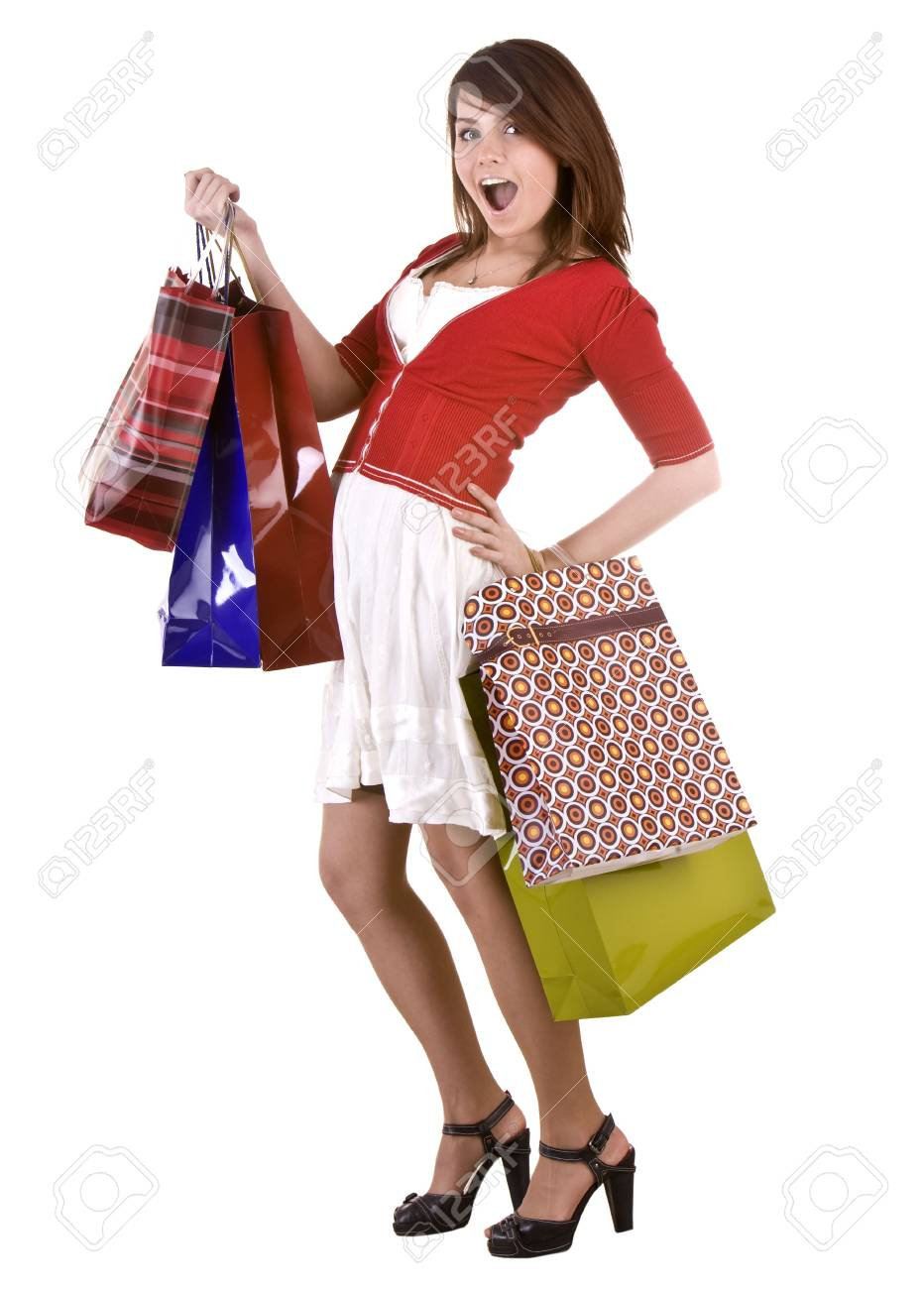 Young girl with gift bag. Isolated. Stock Photo - 5554313