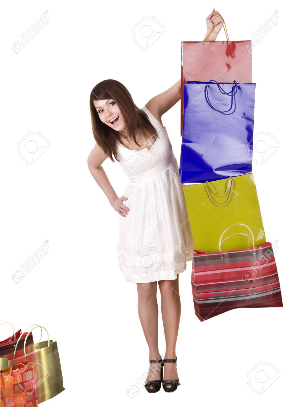 Young girl with shopping bag. Isolated. Stock Photo - 5554332