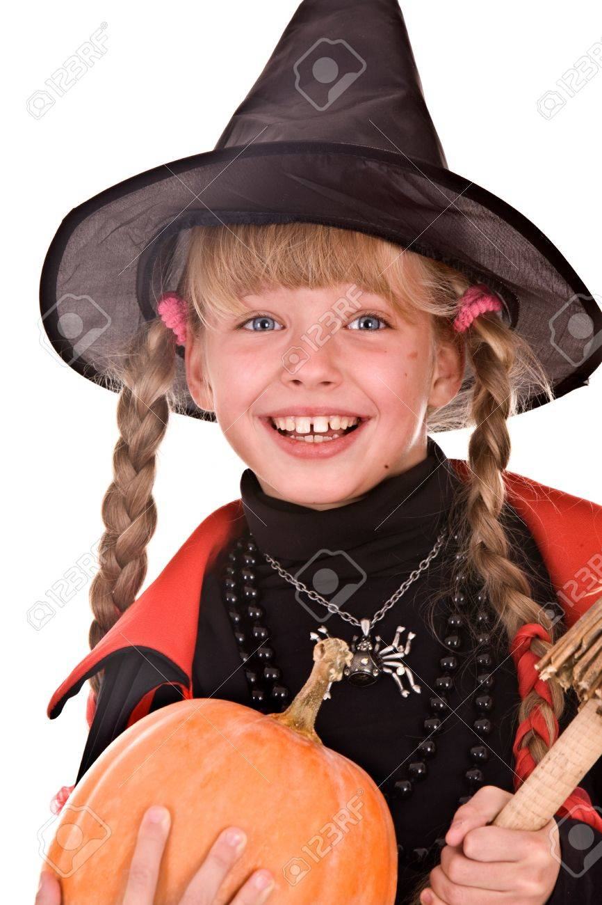 Child girl  Halloween witch  in black hat and dress with pumpkin, broom.Isolated. Stock Photo - 5680297