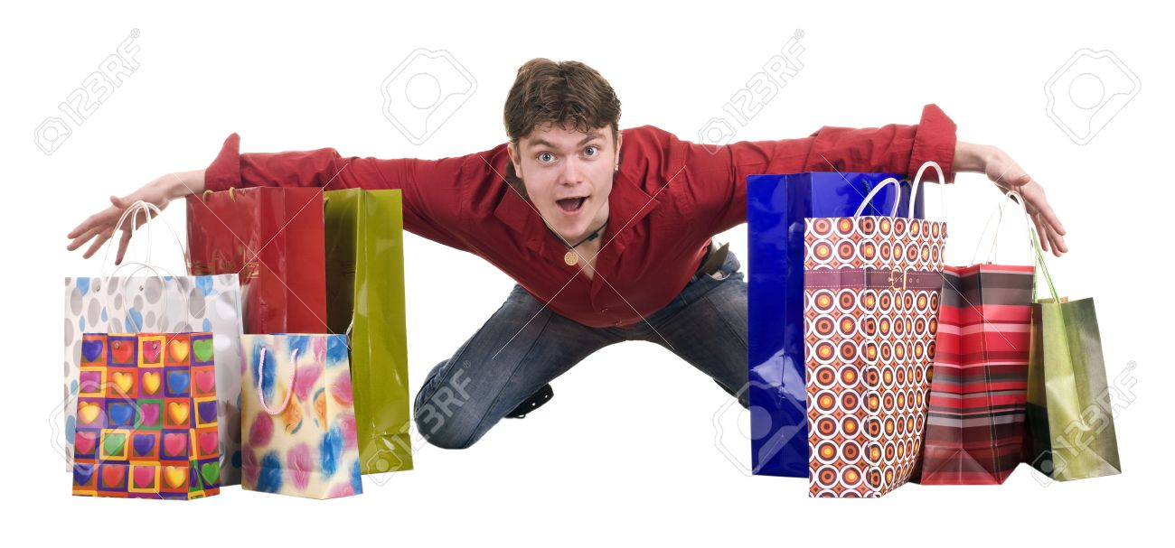 Cheerful funny happy shopping man. Isolated. - 5695264