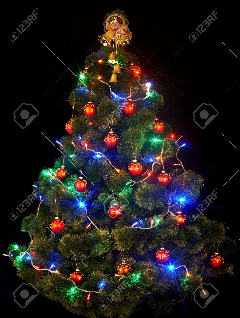 Christmas Tree With Led Light On Black Background