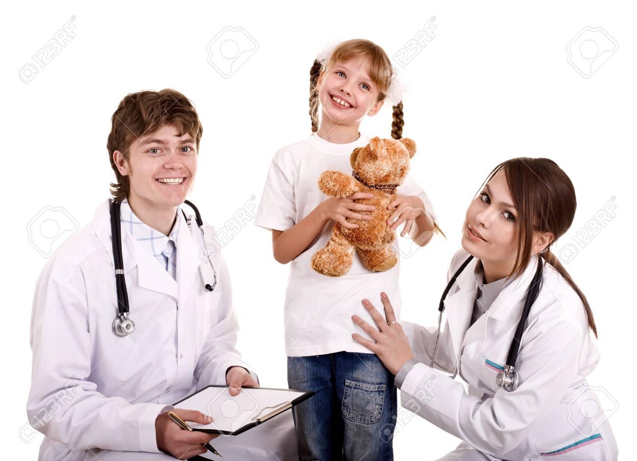 Two paediatrician treat happy child. Medicine. Stock Photo - 6050397