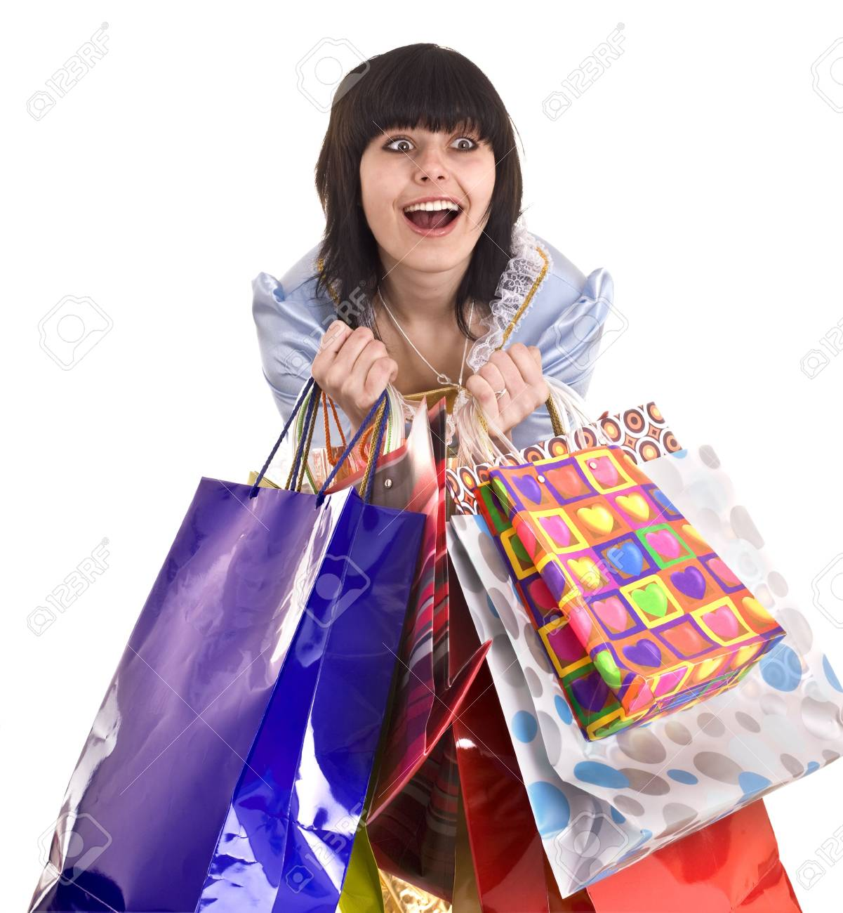 Young girl with gift bag. Isolated. Stock Photo - 6207486