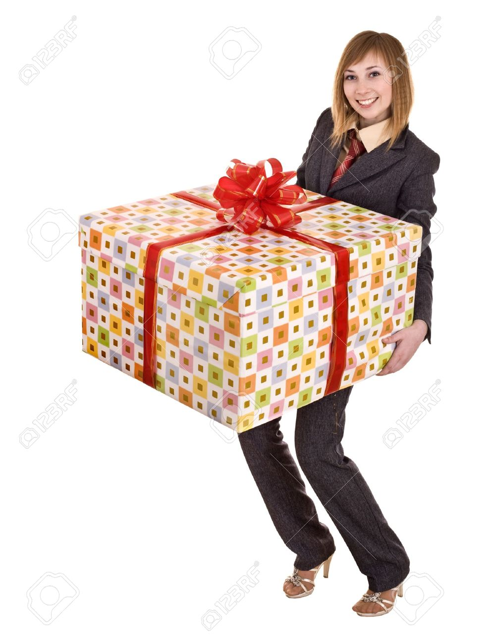business woman with big gift box isolated stock photo picture and