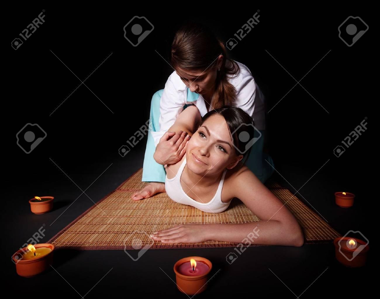 Beautiful white girl having thai massage. Beauty spa. Stock Photo - 6758091