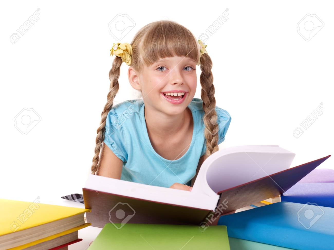 Child with pile of books  reading on floor. Isolated. Stock Photo - 7450539