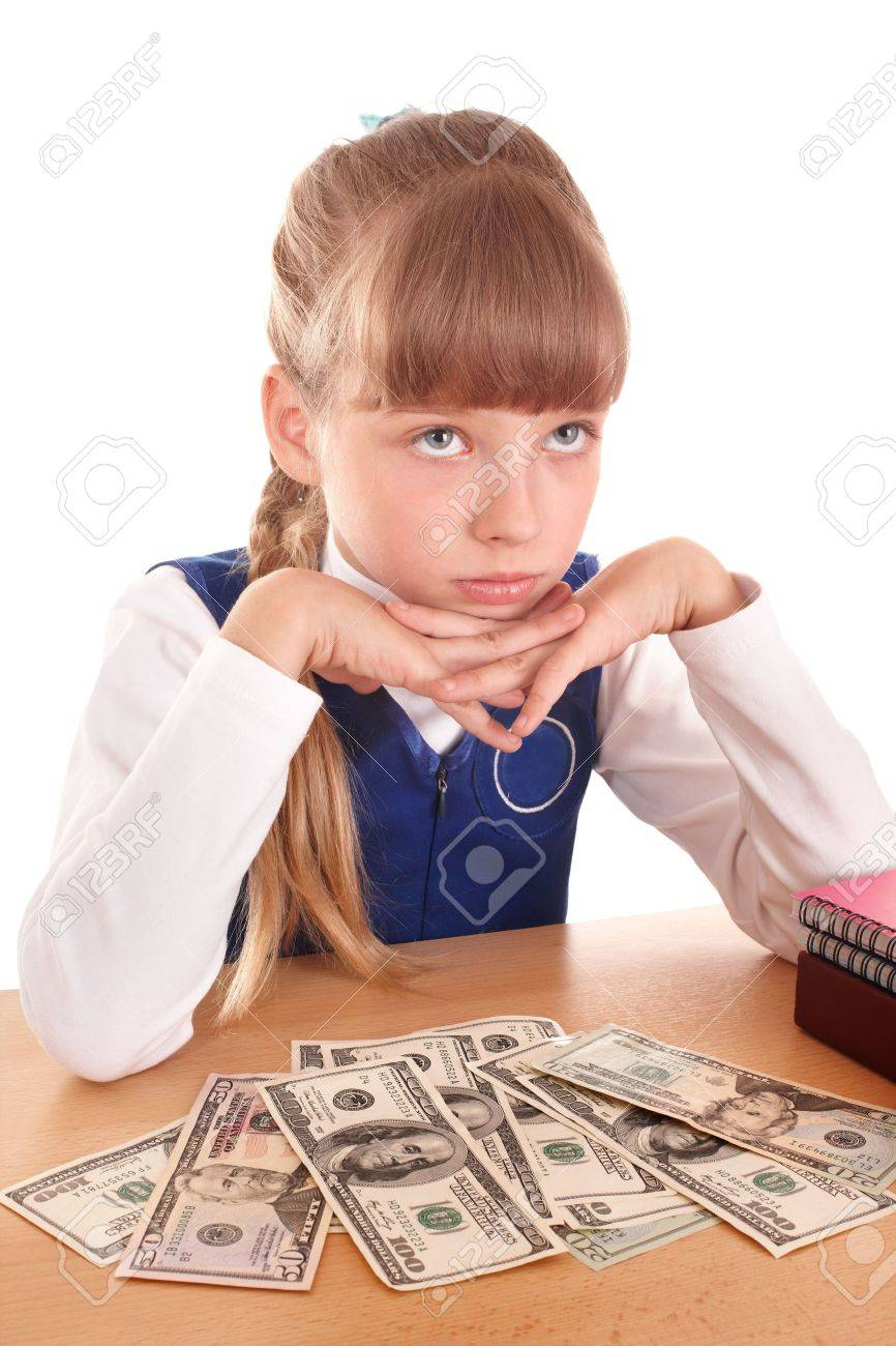 Sad little girl with money dollar. Isolated. Stock Photo - 7450547