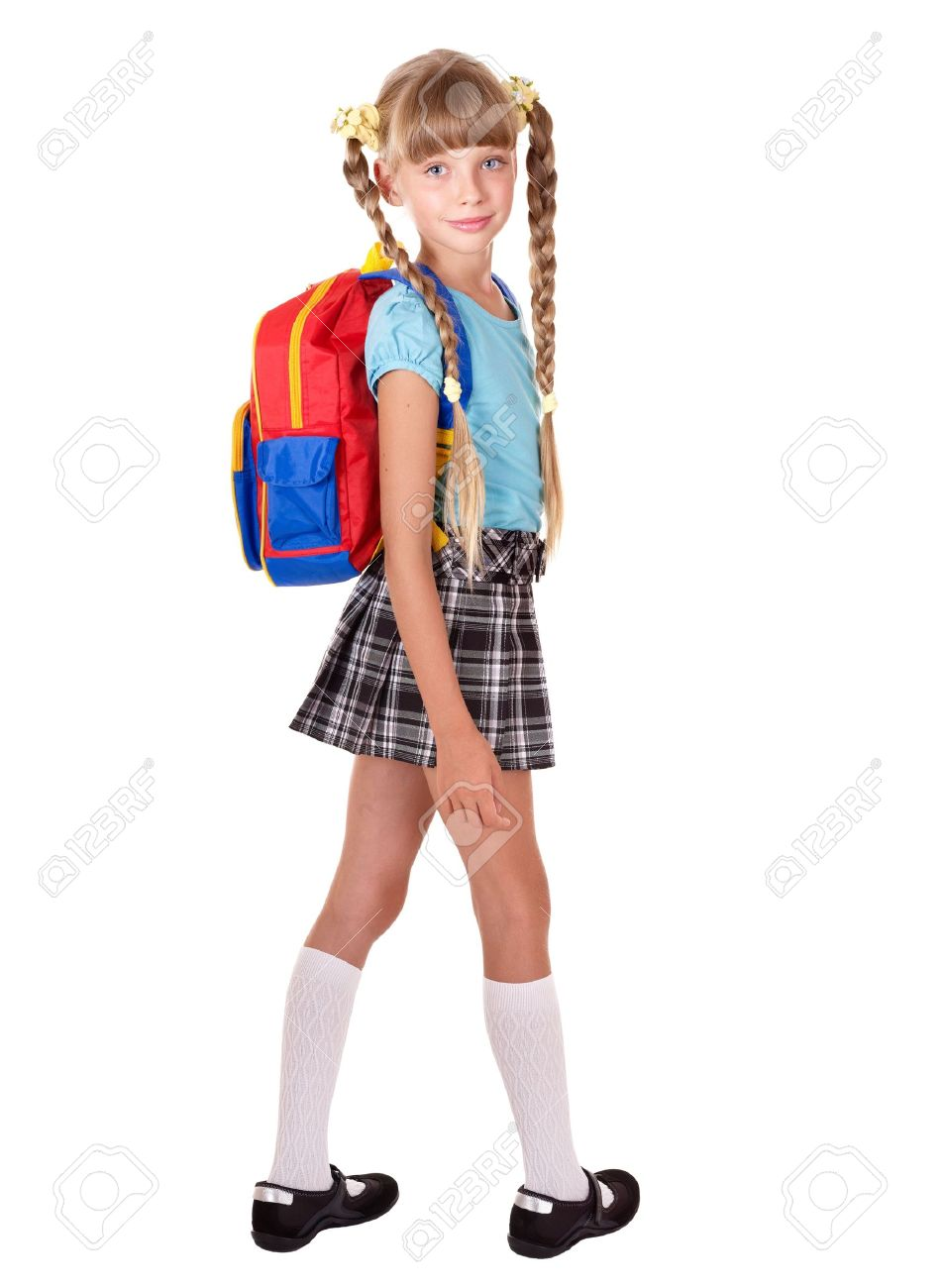 school girl in uniform with backpack isolated stock photo picture