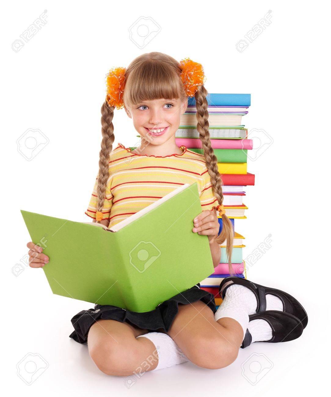 Little girl reading pile of books. Isolated. Stock Photo - 7631283