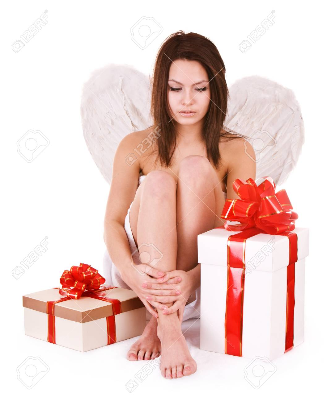 Angel girl with gift box. Isolated. Stock Photo - 7777749