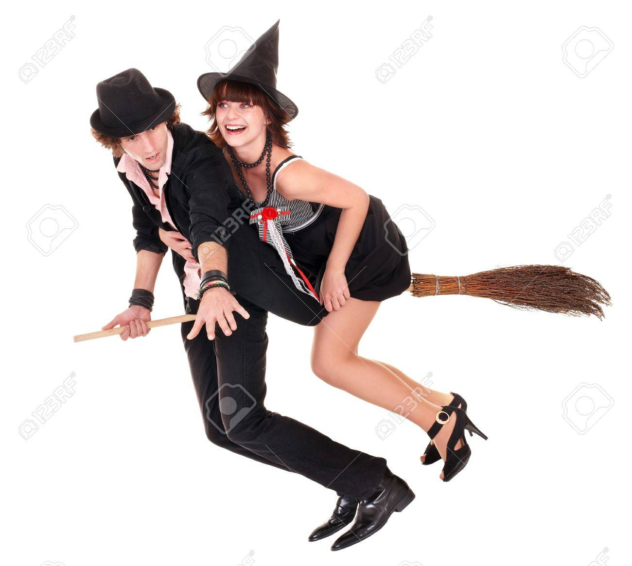 Group Halloween Witch Blond In Black Costume And Hat Fly On Broom ...
