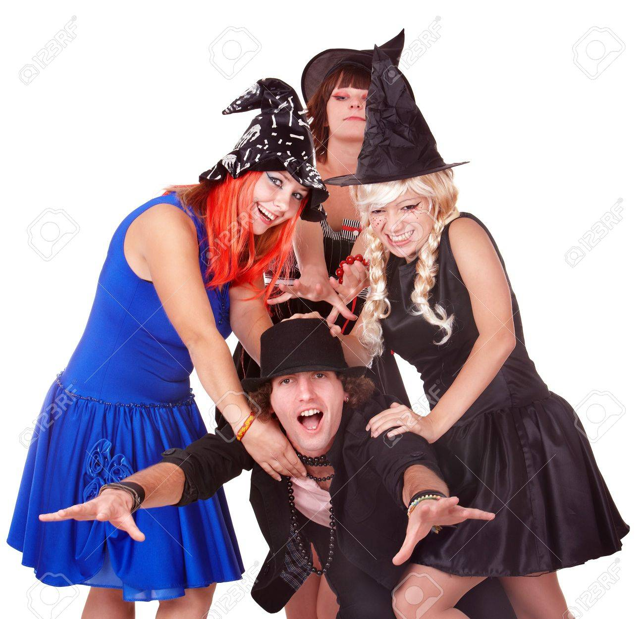 Group of people in  witch costume. Isolated. Stock Photo - 7888638