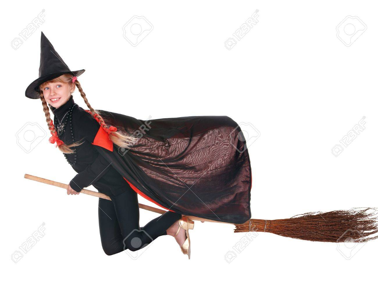 Little Girl In Costume Halloween Witch In Black Dress And Hat ...