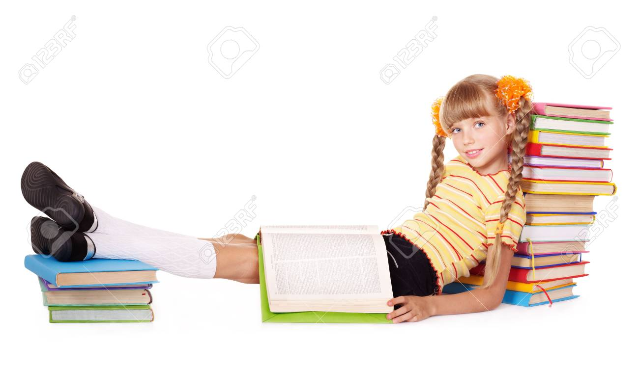 Little girl  reading  pile of books. Isolated. Stock Photo - 8116403