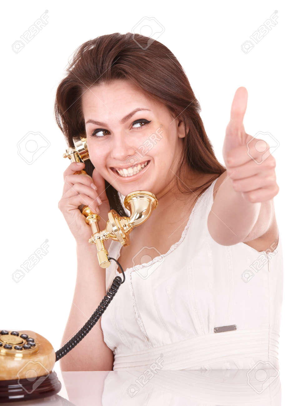 Young beautiful woman with phone. Isolated. Stock Photo - 8239235