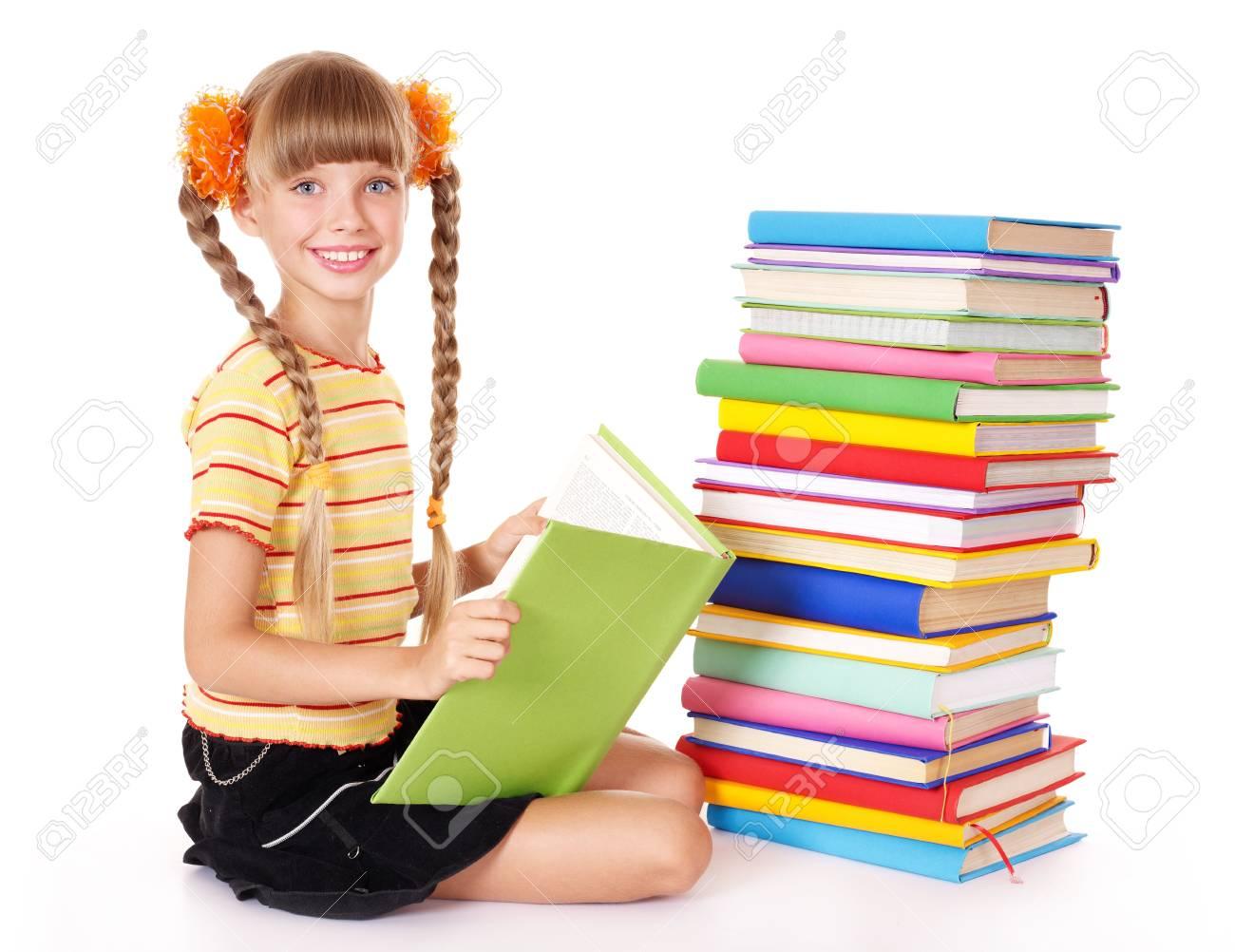 Little girl reading pile of books. Isolated. Stock Photo - 8781708