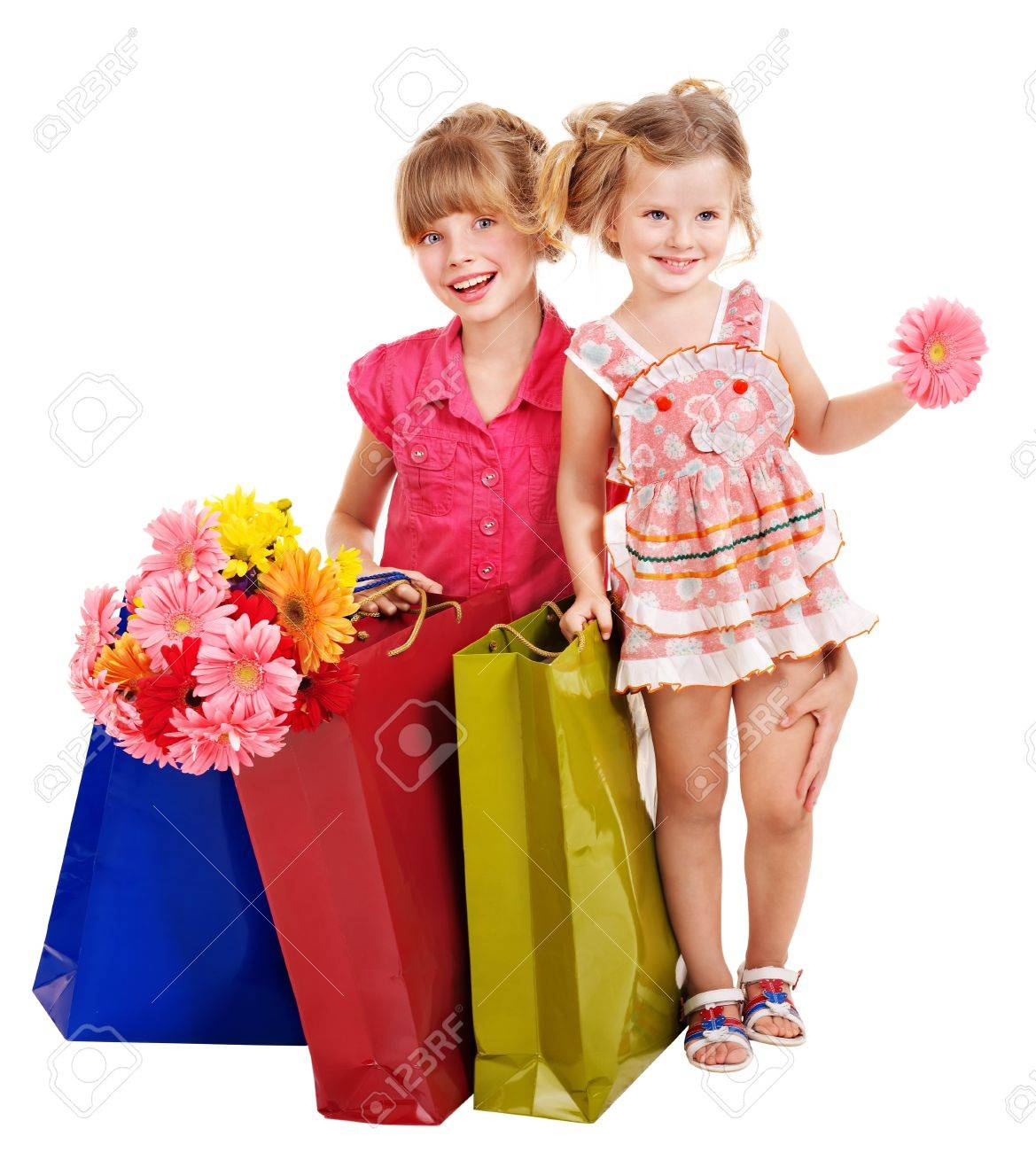 Happy Little Girl With Shopping Bag. Isolated. Stock Photo ...
