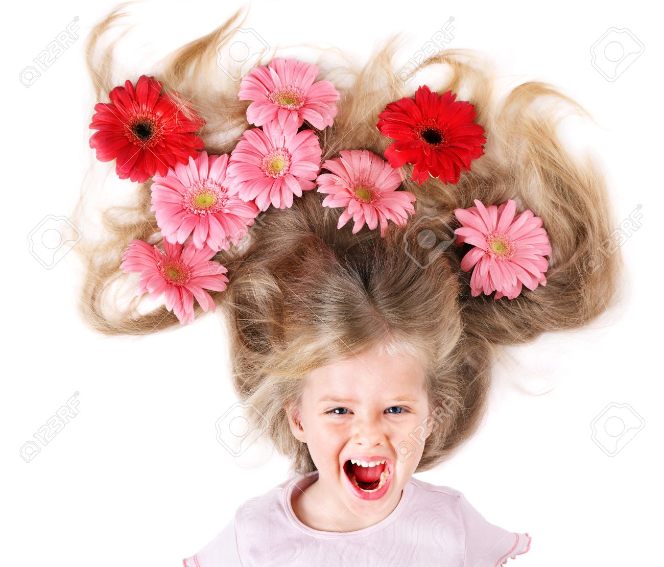 Swell Little Cute Girl With Long Hair And Flowers Spring Hairstyle Short Hairstyles For Black Women Fulllsitofus