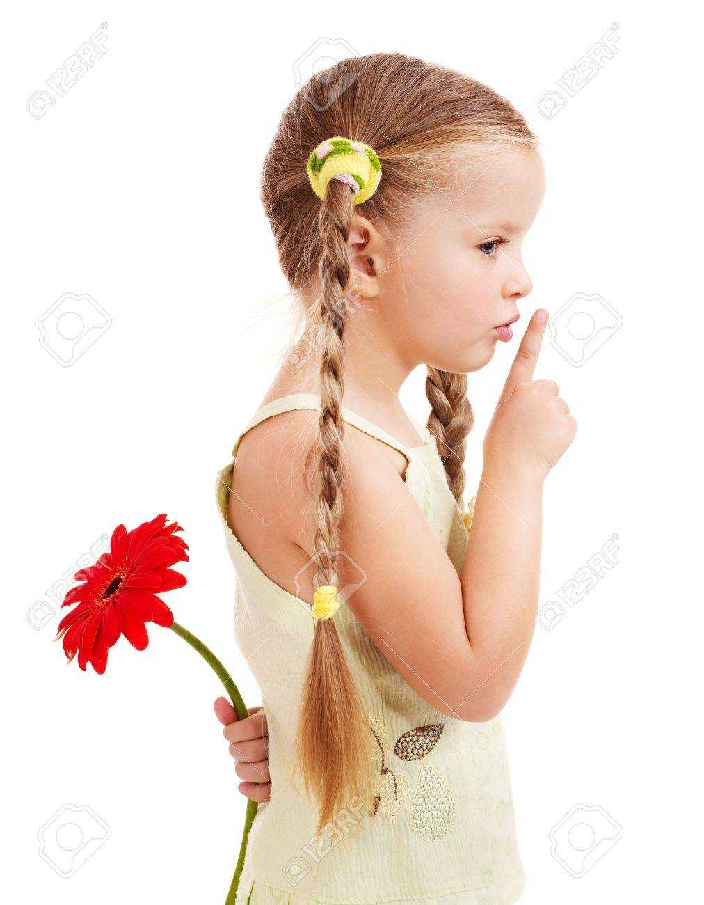 Happy little girl giving  flowers. Stock Photo - 9268226